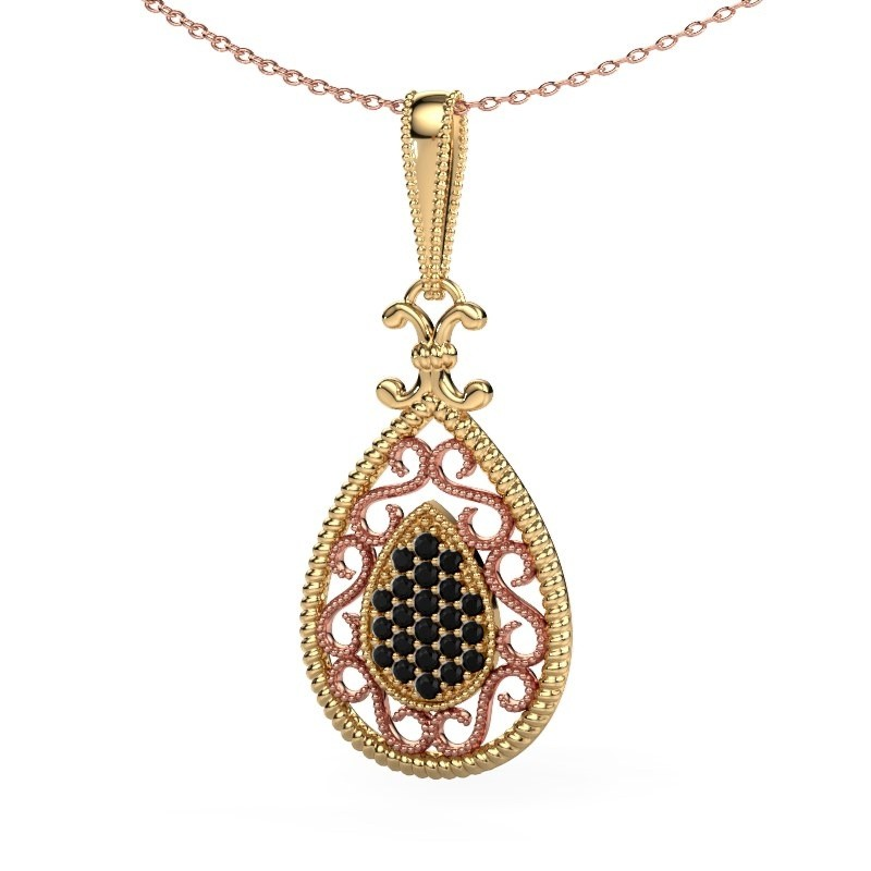 Hanger Tammie 585 goud zwarte diamant 0.324 crt