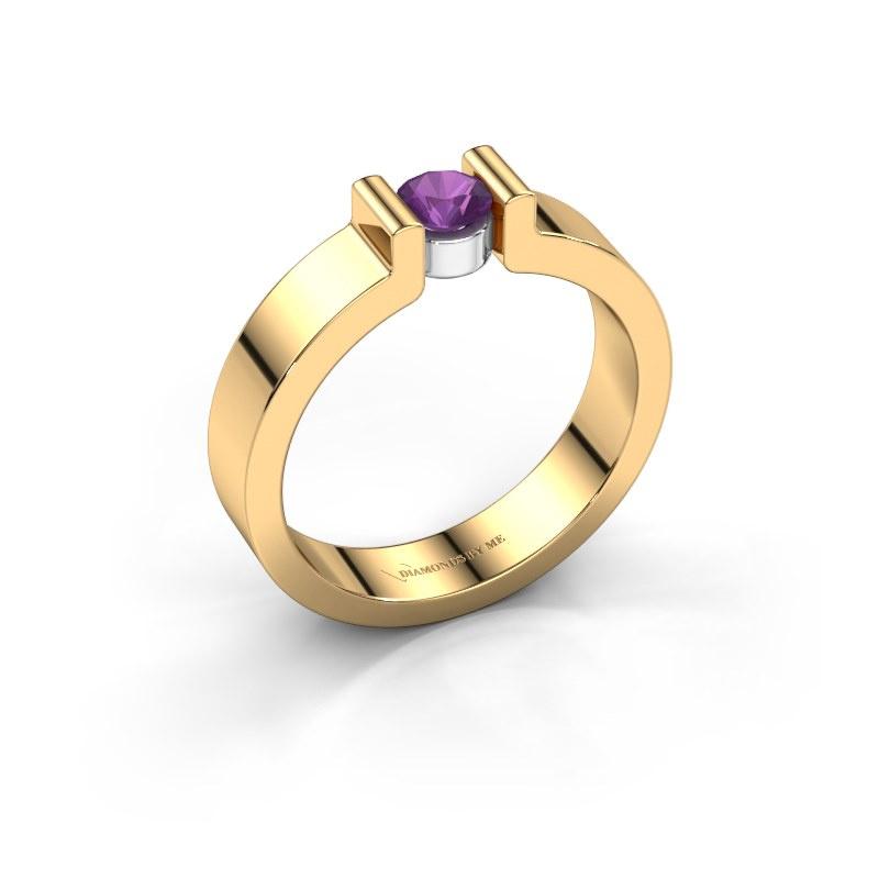 Verlovingsring Isabel 1 585 goud amethist 4 mm