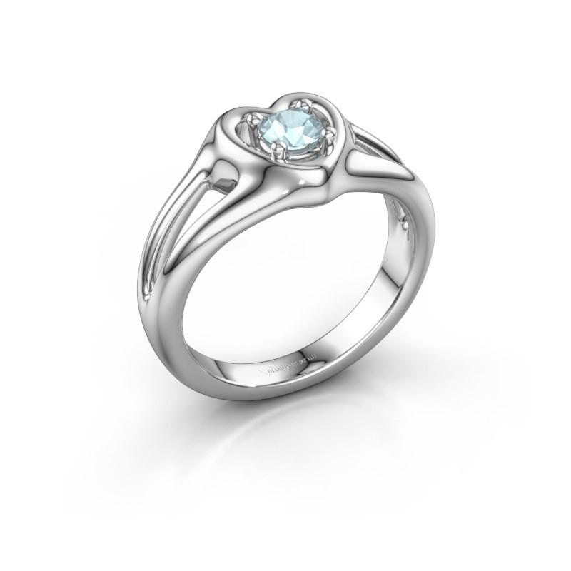 Ring Jolijn 585 witgoud aquamarijn 4 mm