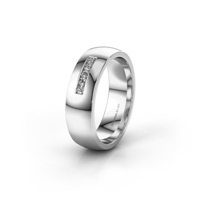 Wedding ring WH0107L26BP 375 white gold zirconia ±0.24x0.08 in
