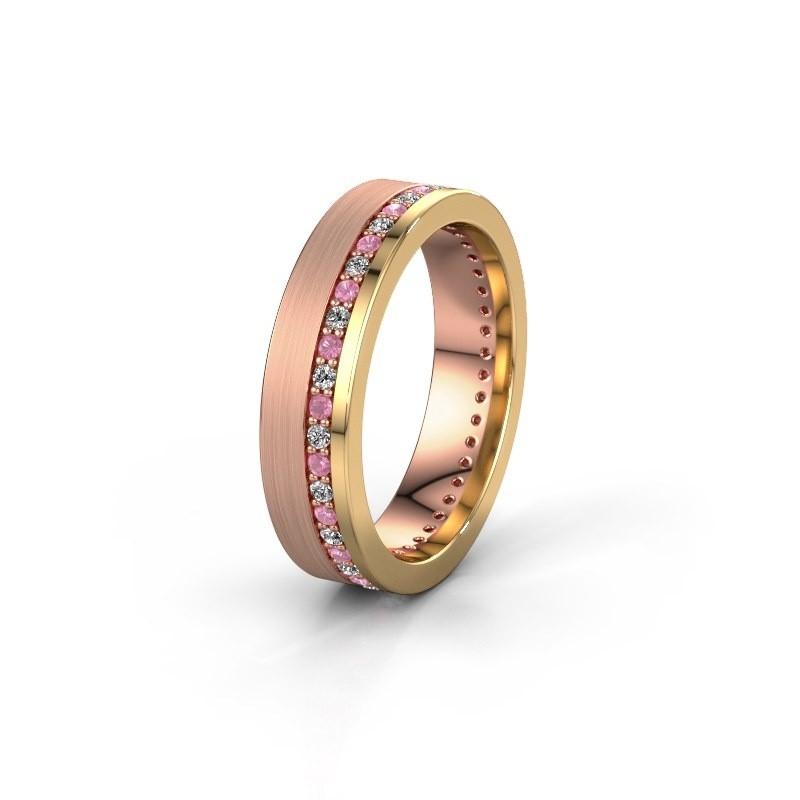 Trouwring WH0303L15BPM 585 rosé goud roze saffier 1.3 mm ±5x2 mm