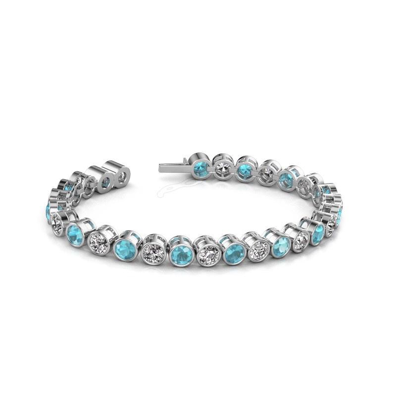 Tennisarmband Allegra 5 mm 585 witgoud blauw topaas 5 mm