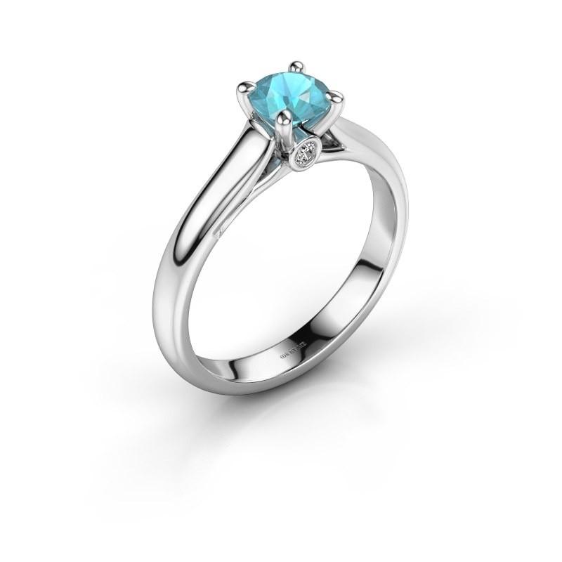 Verlovingsring Valorie 1 585 witgoud blauw topaas 5 mm