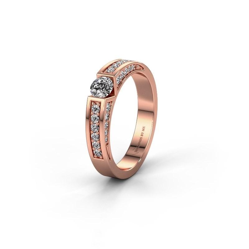 Trouwring WH2098L 375 rosé goud lab-grown diamant ±4x3 mm