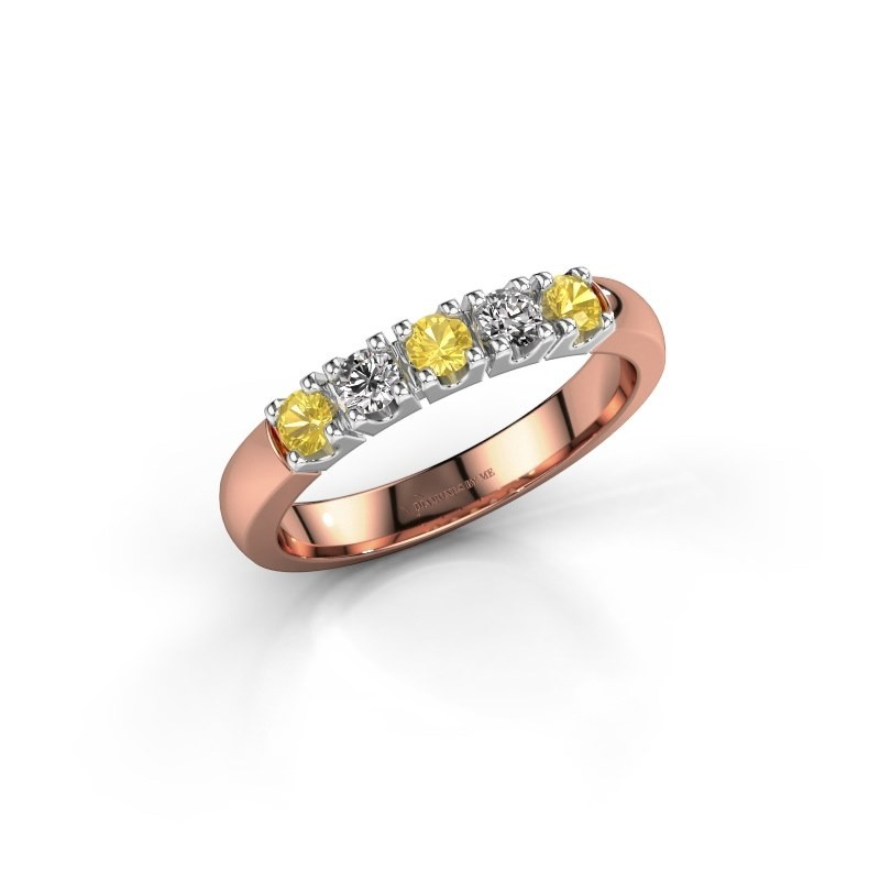 Engagement ring Rianne 5 585 rose gold yellow sapphire 2.7 mm