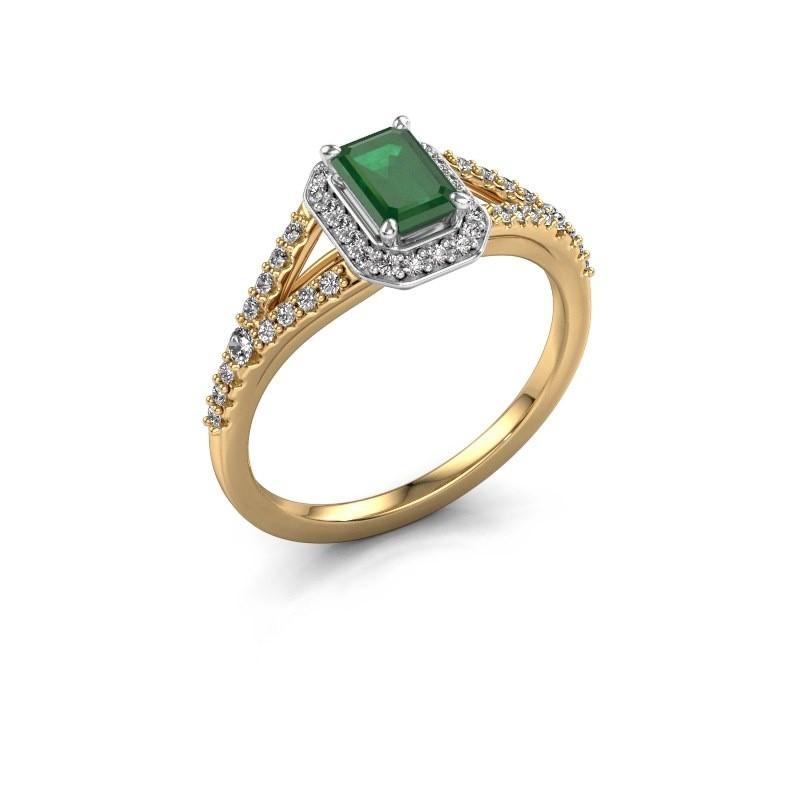 Verlovingsring Pamela EME 585 goud smaragd 6x4 mm