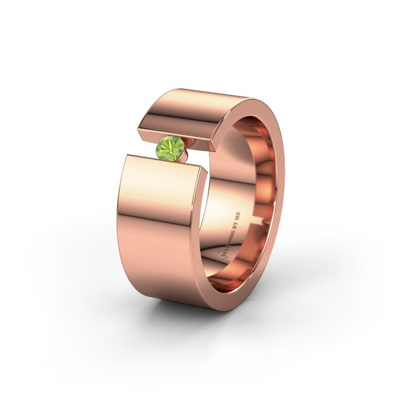 Trouwring WH0146L18BP 375 rosé goud peridoot ±8x2 mm