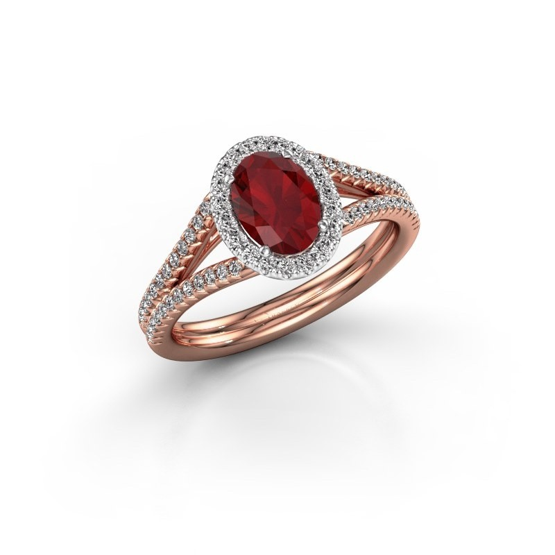 Engagement ring Rachele 2 585 rose gold ruby 7x5 mm