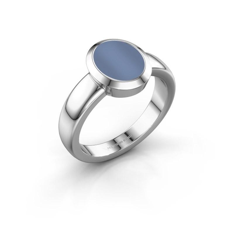 Zegelring Oscar 1 F 950 platina licht blauwe lagensteen 10x8 mm