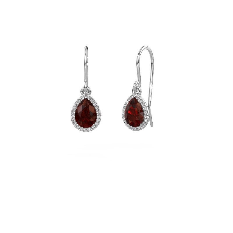 Drop earrings Seline per 950 platinum garnet 7x5 mm