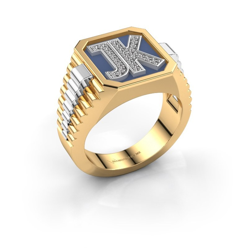 Zegelring Mike 585 goud diamant 0.005 crt