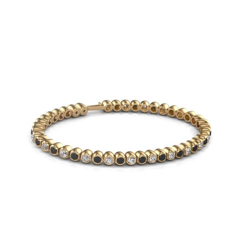 Tennisarmband Asley 375 goud zwarte diamant 4.84 crt