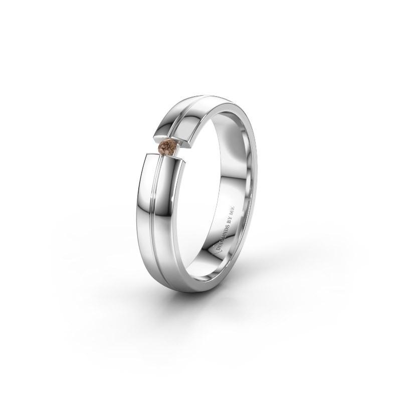 Wedding ring WH0254L24X 950 platinum brown diamond ±4x1.5 mm