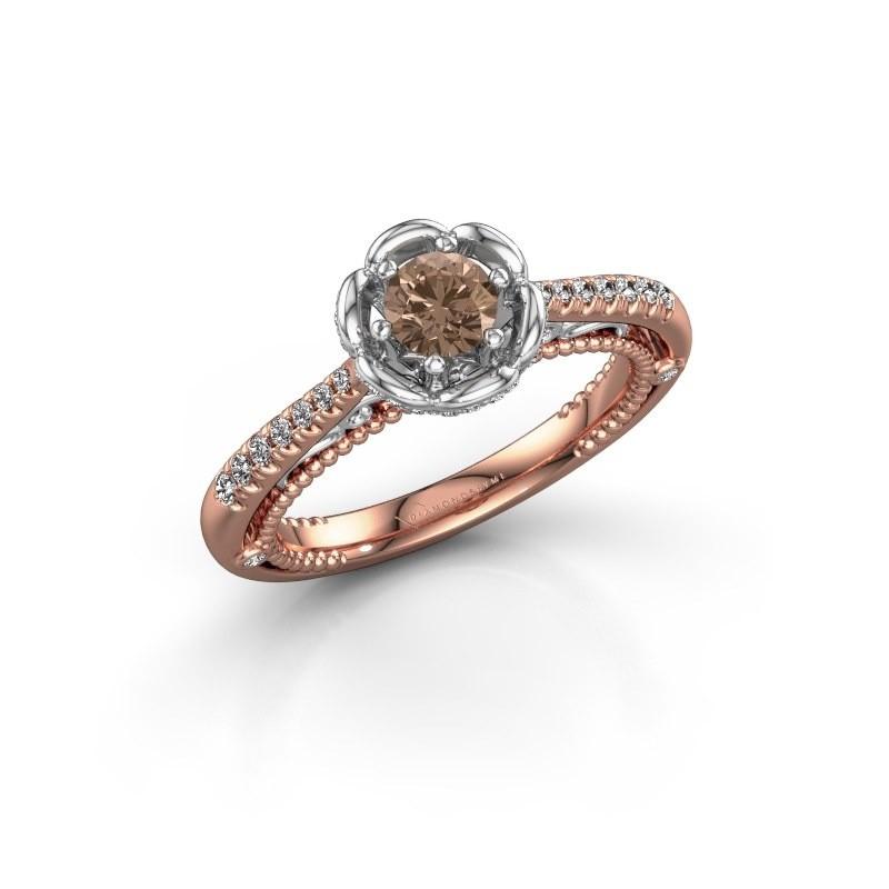 Aanzoeksring Abbey 585 rosé goud bruine diamant 0.582 crt
