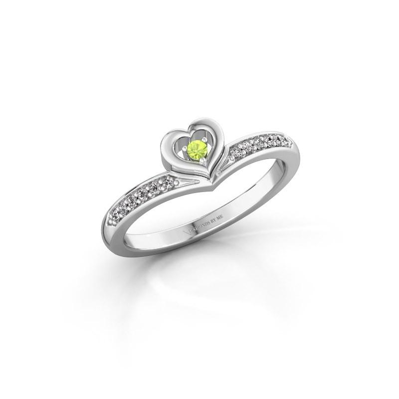 Ring Mimi 950 platina peridoot 2 mm