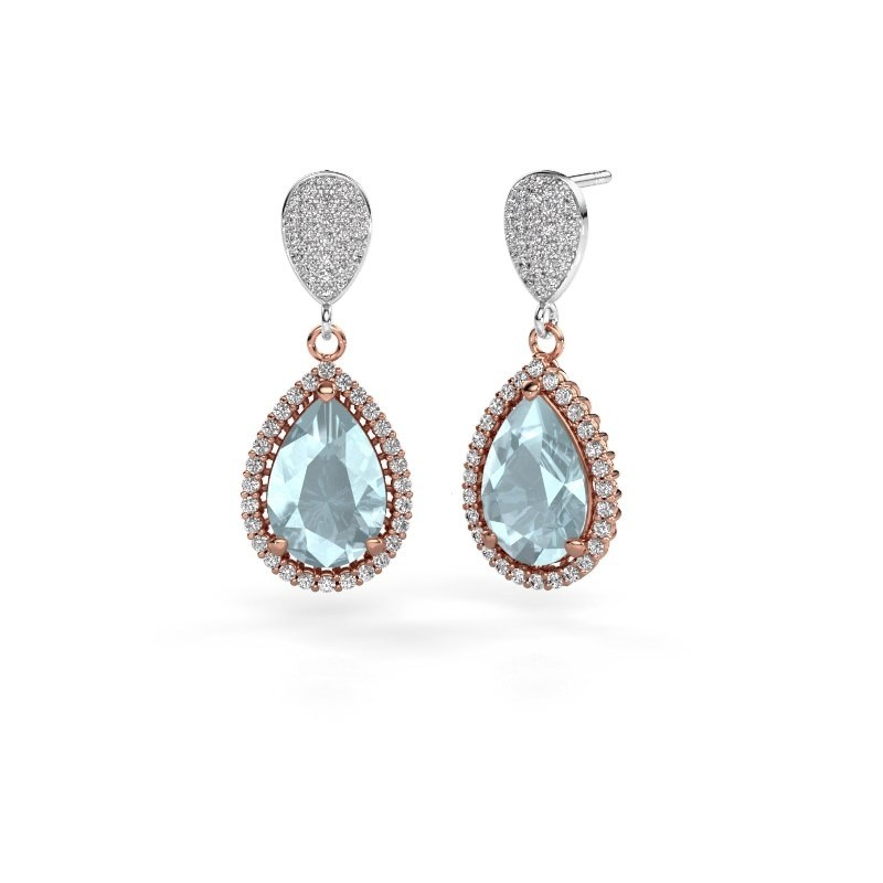 Drop earrings Cheree 2 585 rose gold aquamarine 12x8 mm