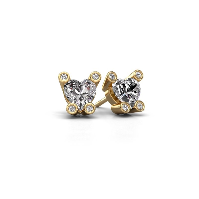 Stud earrings Cornelia Heart 585 gold zirconia 6 mm