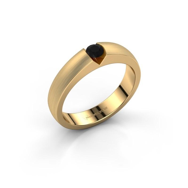 Verlovingsring Theresia 375 goud zwarte diamant 0.18 crt