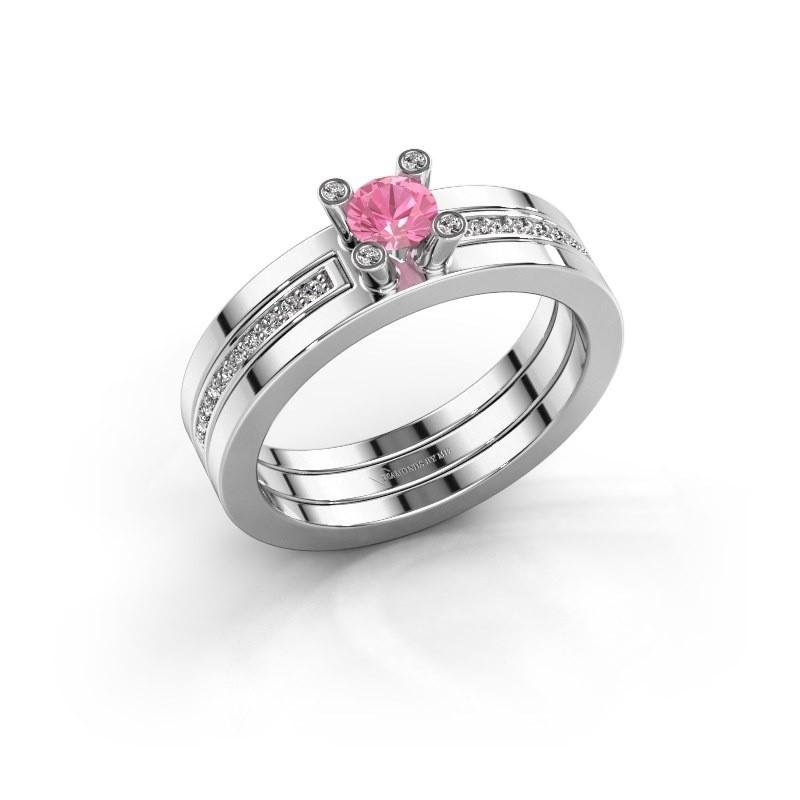Ring Alisha 925 zilver roze saffier 4 mm