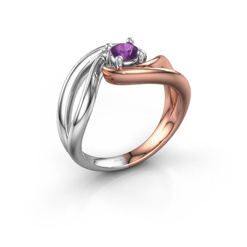 Ring Kyra 585 rosé goud amethist 4 mm