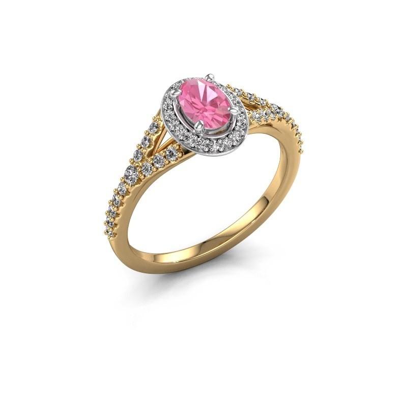 Belofte ring Pamela OVL 585 goud roze saffier 7x5 mm