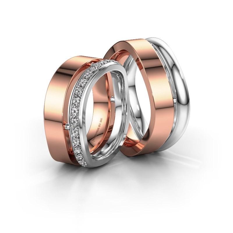 Trouwringen set WH6008LM18BP ±8x2 mm 14 karaat rosé goud diamant 0.025 crt