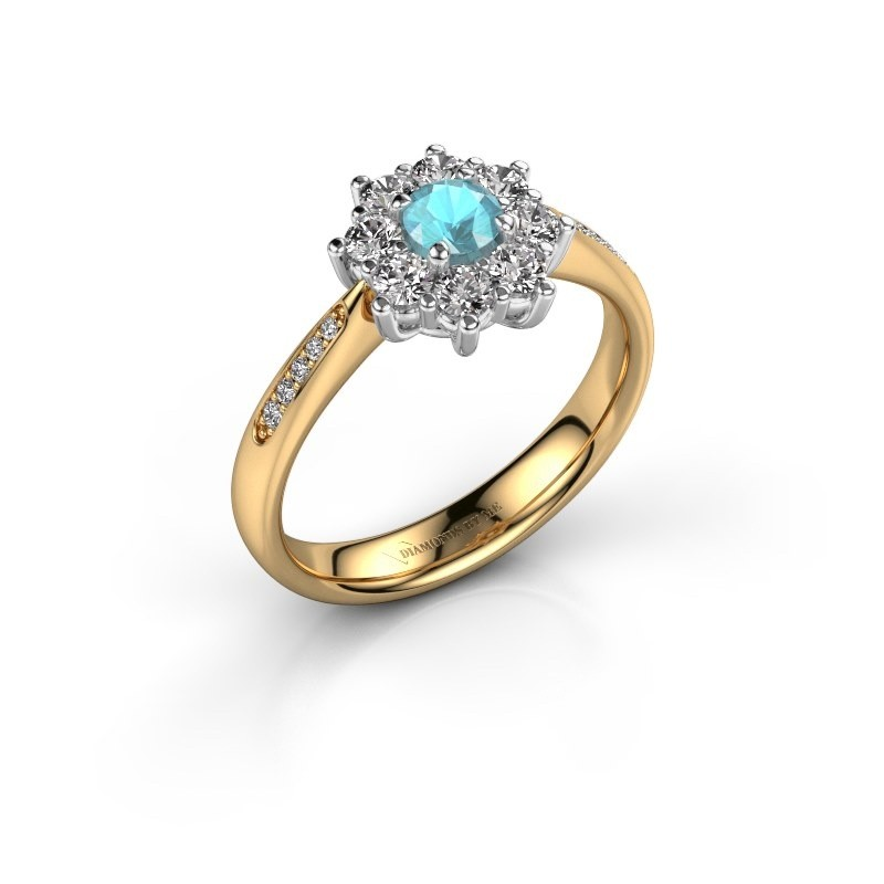 Verlovingsring Carolyn 2 585 goud blauw topaas 3.4 mm