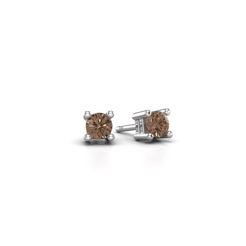 Oorknopjes Eline 585 witgoud bruine diamant 0.25 crt