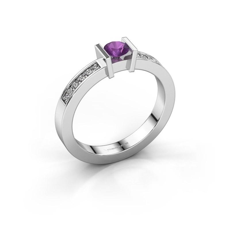Engagement ring Maryam 585 white gold amethyst 4 mm
