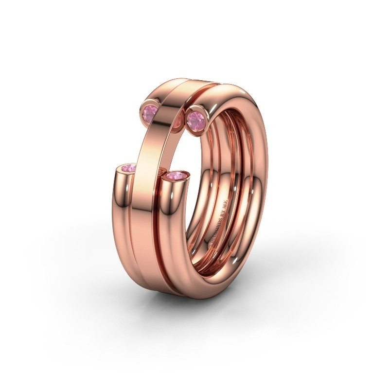 Wedding ring WH6018L 585 rose gold pink sapphire ±8x3 mm
