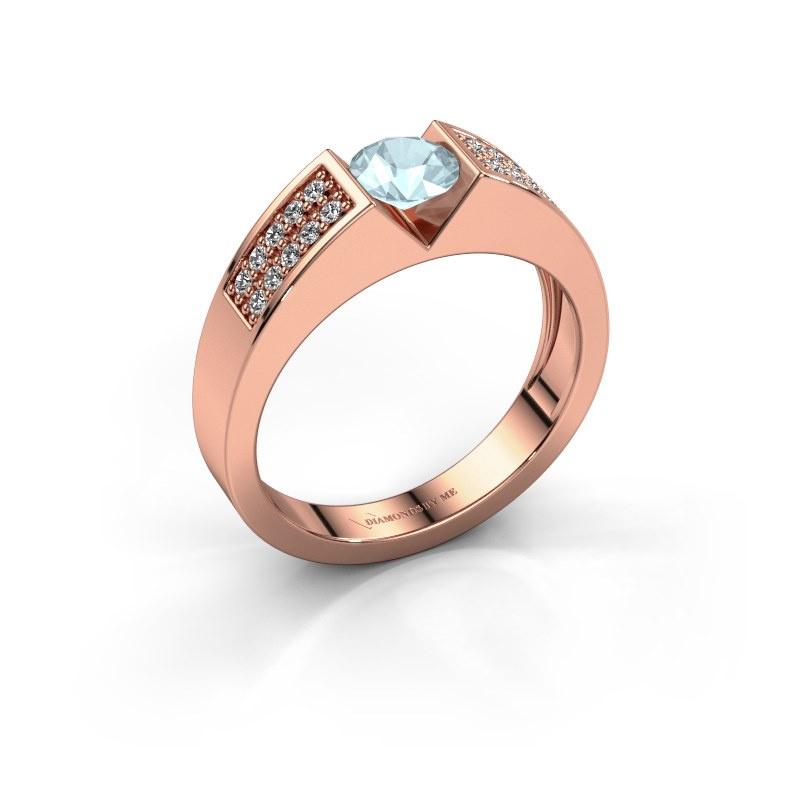 Engagement ring Lizzy 3 585 rose gold aquamarine 5 mm