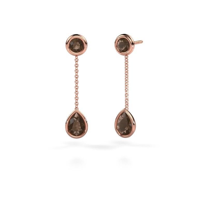 Oorhangers Ladawn 585 rosé goud rookkwarts 7x5 mm