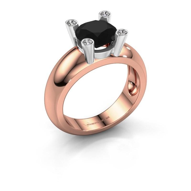 Ring Tamara RND 585 Roségold Schwarz Diamant 2.40 crt