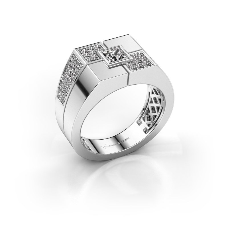 Men's ring Rogier 375 white gold zirconia 4 mm