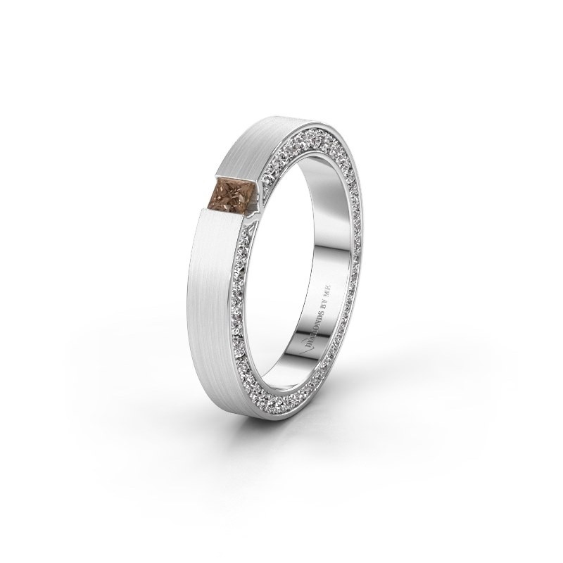 Wedding ring WH2140L14B 925 silver brown diamond ±3,5x2 mm