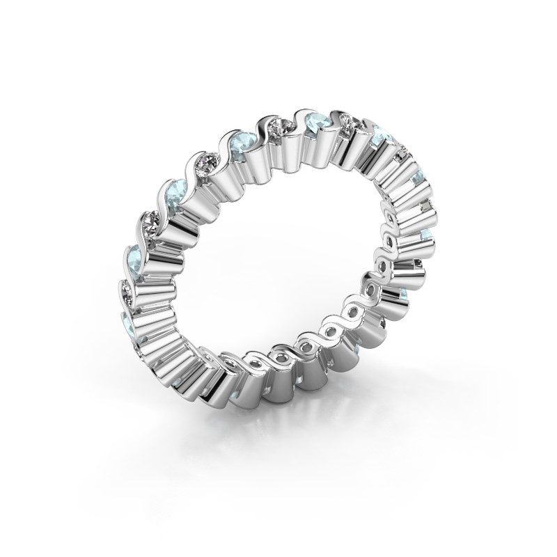 Stackable ring Faye 925 silver aquamarine 2 mm