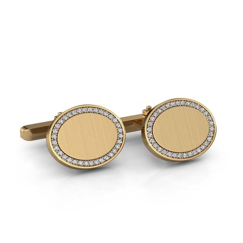 Manchetknopen Richano 585 goud zirkonia 1.2 mm