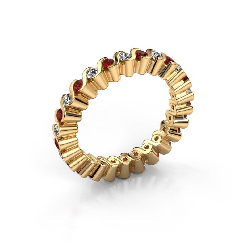 Stackable ring Faye 585 gold garnet 2 mm