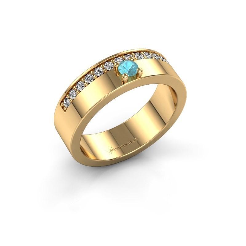 Ring Vicki 375 goud blauw topaas 3 mm