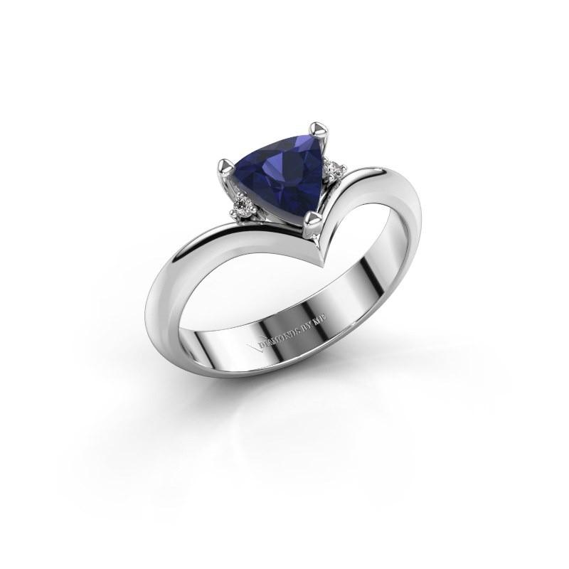 Ring Arlette 585 witgoud saffier 7 mm