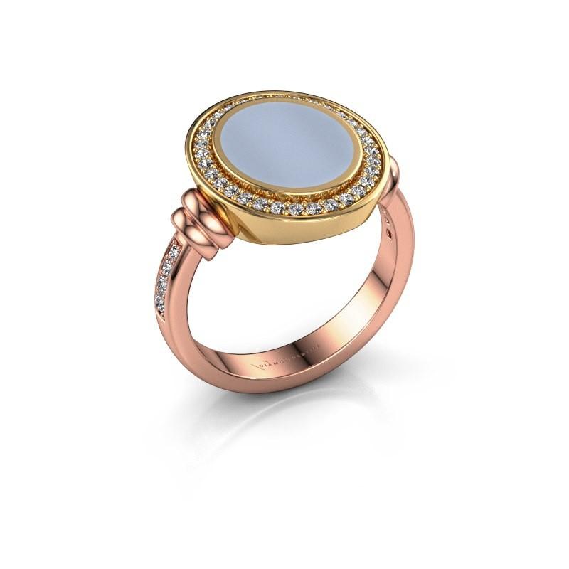 Zegelring Servie 2 585 rosé goud licht blauwe lagensteen 12x10 mm