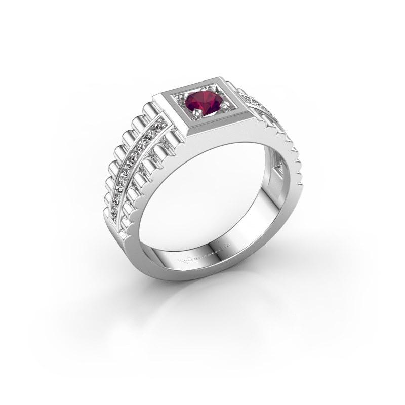 Men's ring Maikel 925 silver rhodolite 4.2 mm