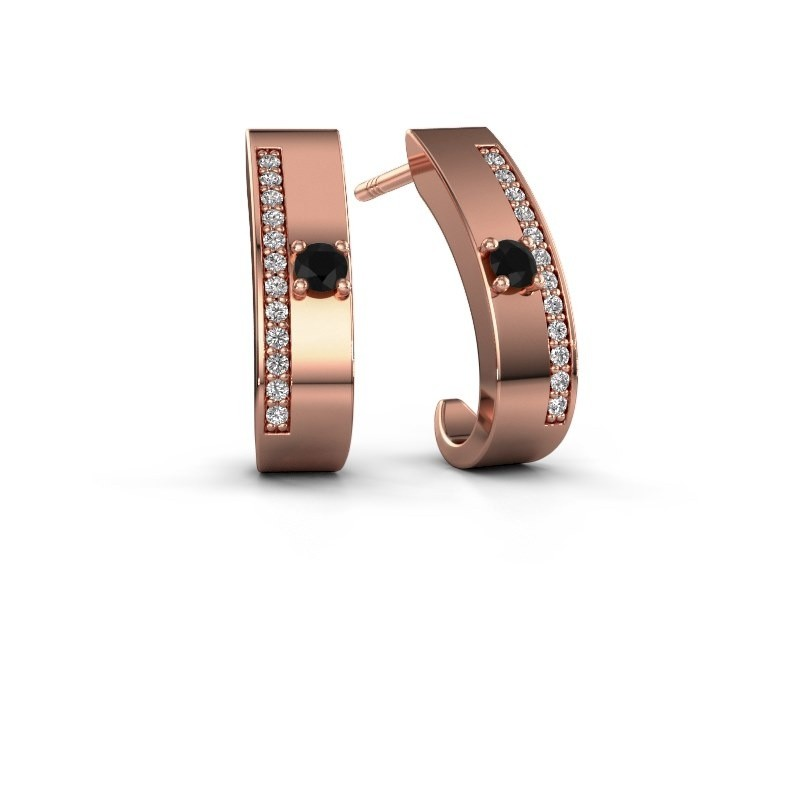 Oorbellen Vick1 375 rosé goud zwarte diamant 0.252 crt