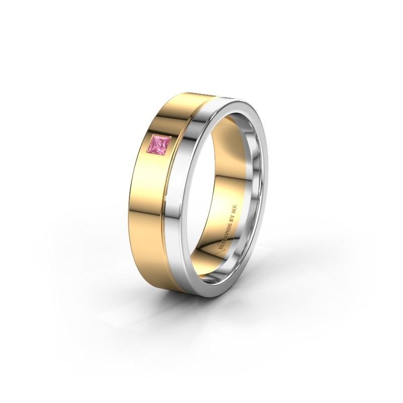 Trouwring WH0301L16APSQ 585 goud roze saffier ±6x1.7 mm