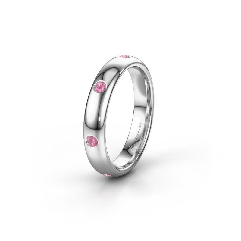 Trouwring WH0105L34BP 950 platina roze saffier ±4x2 mm