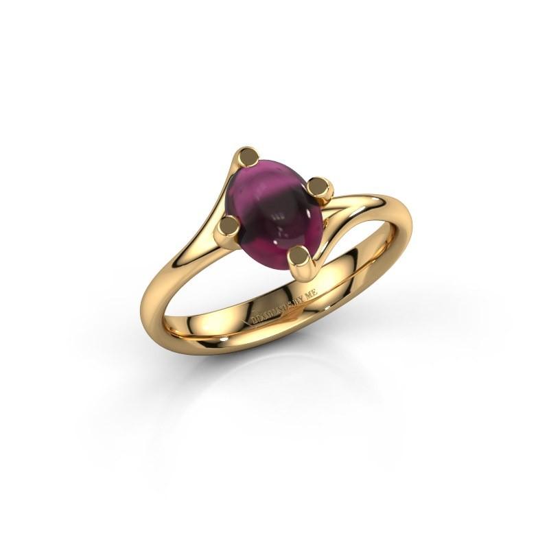 Ring Nora 585 goud rhodoliet 8x6 mm