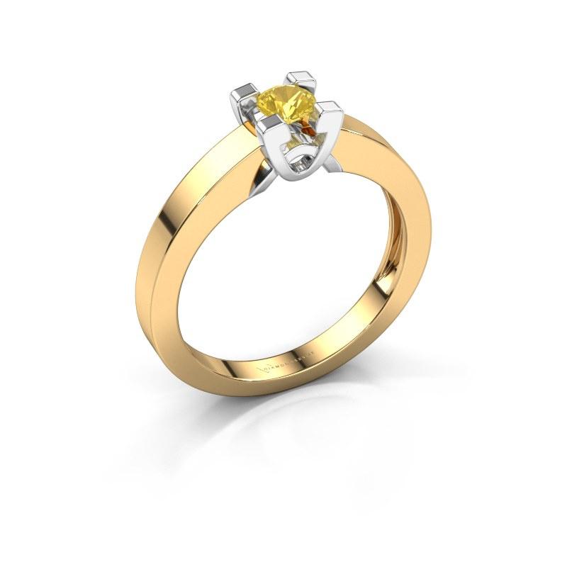 Verlovingsring Nina 1 585 goud gele saffier 3.7 mm