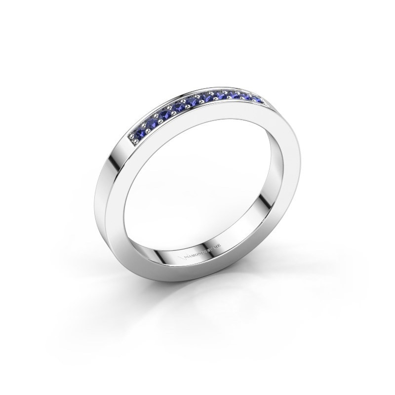 Stackable ring Loes 3 925 silver sapphire 1.3 mm