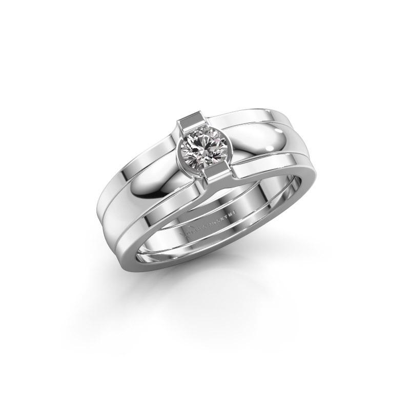 Bague Jade 925 argent diamant 0.25 crt