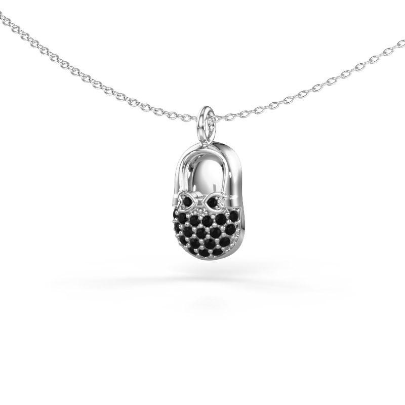 Hanger Babyshoe 375 witgoud zwarte diamant 0.232 crt